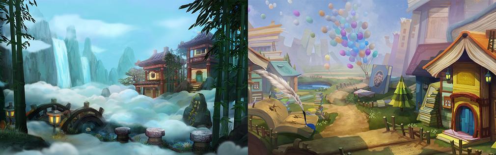 HeroWarz(ヒーローウォーズ) 左:中国風フィールド、右:本の世界のようなフィールド