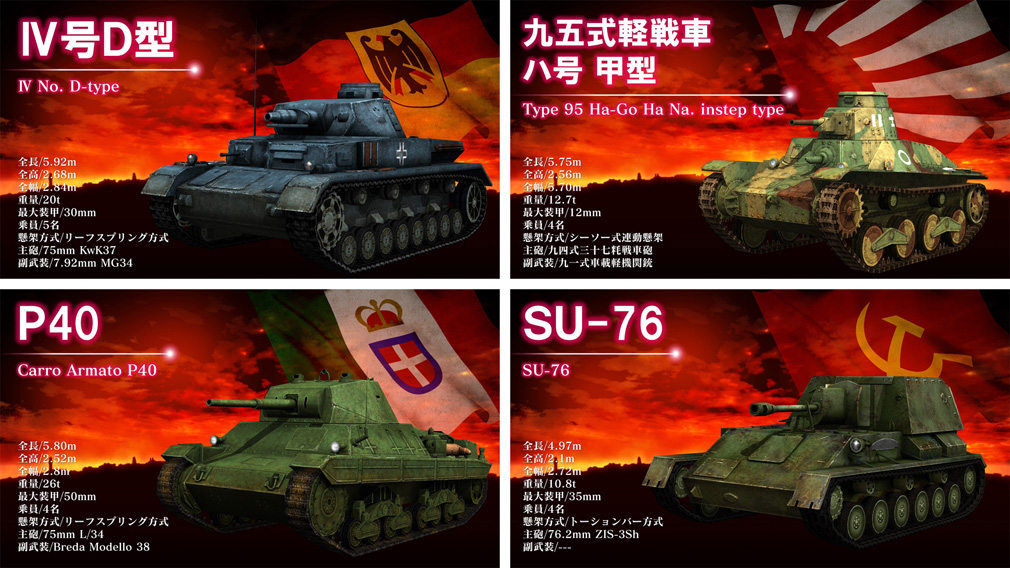 クラッシュ オブ パンツァー PC Ⅳ号D型、九五式軽戦車ハ号甲型、P40、SU-76