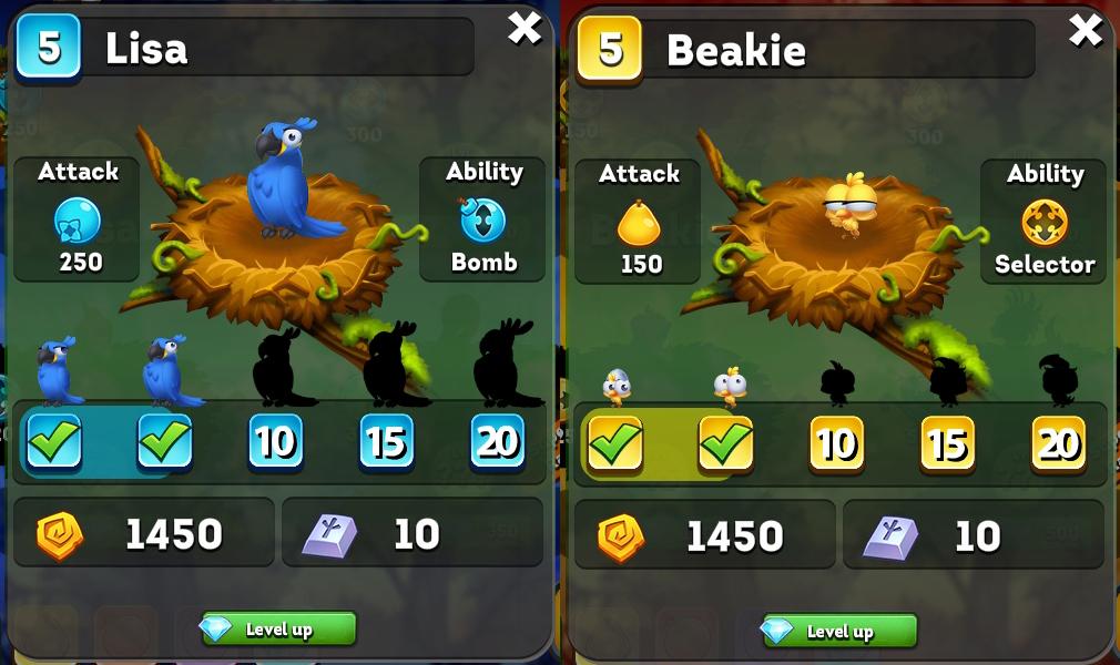 フルーツフォレスト(Bravo Birds) 青のLisaと黄色のBeakieの5レベル進化