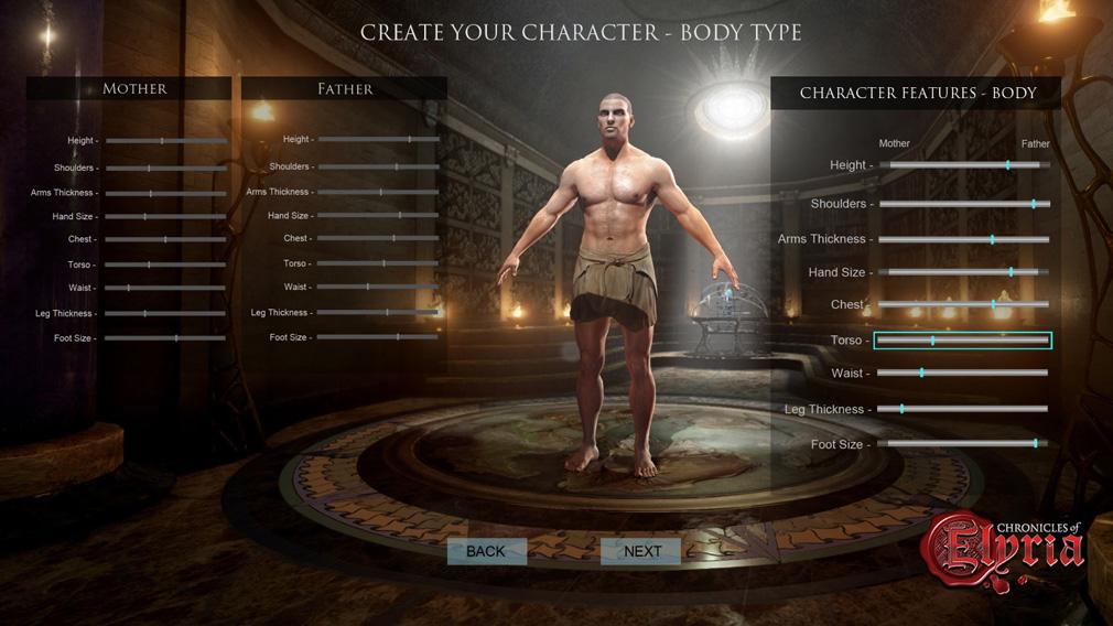 Chronicles of Elyria(クロニクルズ オブ イリリア) キャラクターメイキング身体
