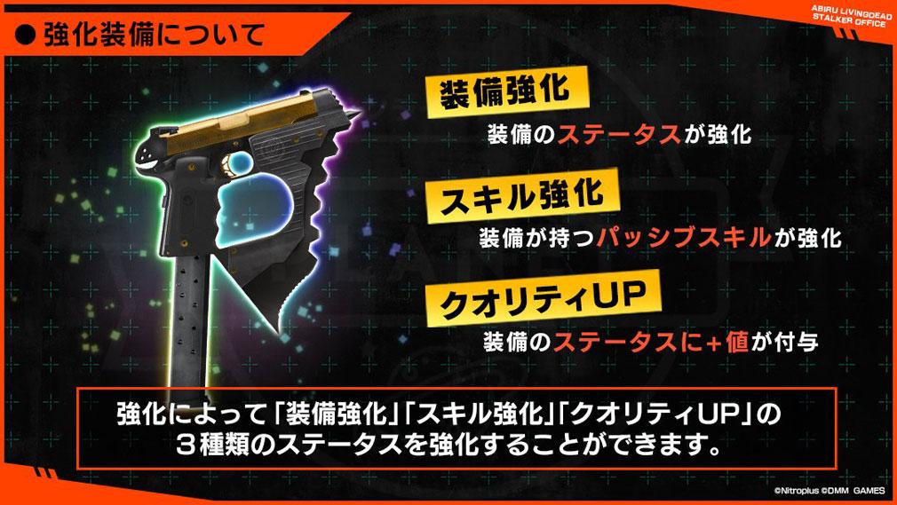 凍京NECRO(トウキョウネクロ) SUICIDE MISSION(スーサイドミッション) PCブラウザ版 強化装備紹介イメージ