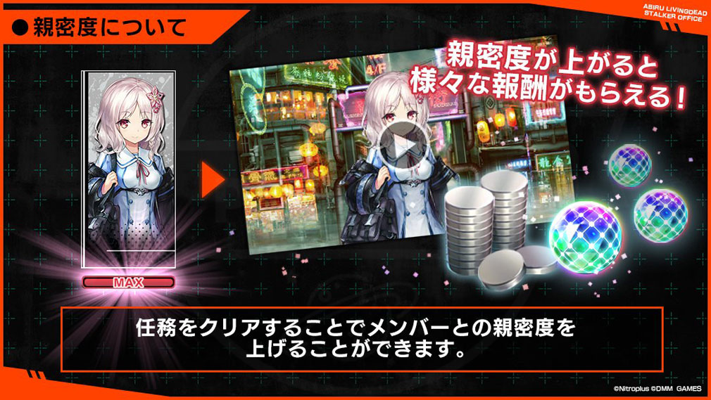 凍京NECRO(トウキョウネクロ) SUICIDE MISSION(スーサイドミッション) PCブラウザ版 メンバー『親密度』紹介イメージ
