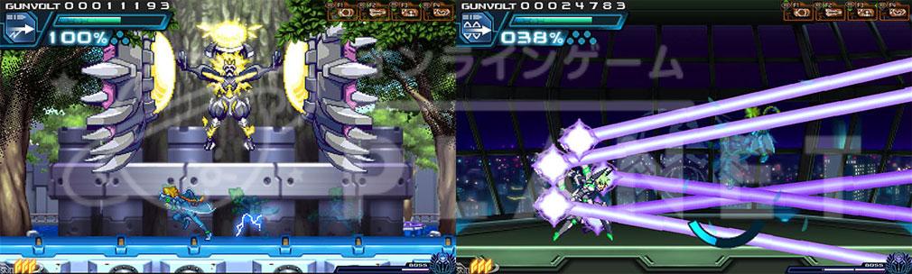 蒼き雷霆(アームドブルー)ガンヴォルト PC ボスバトルスクリーンショット
