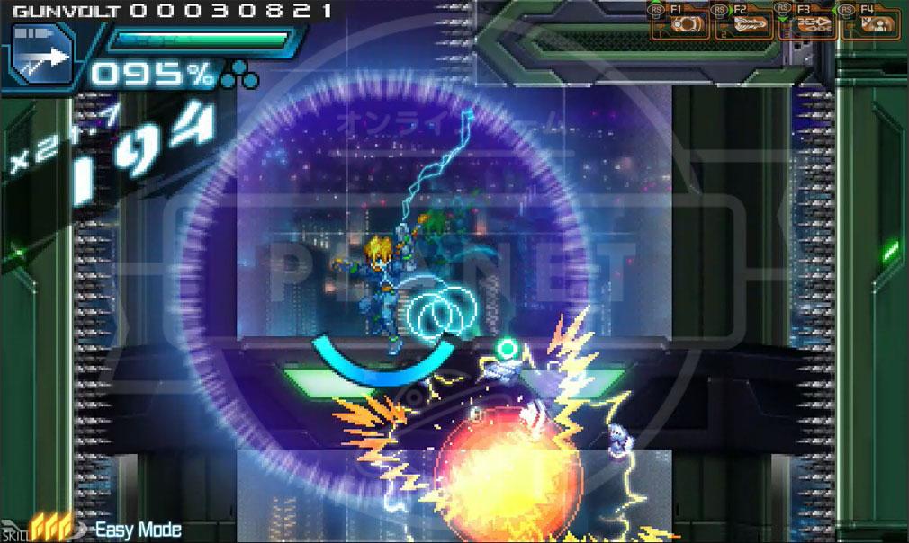 蒼き雷霆(アームドブルー)ガンヴォルト PC イージーモードバトルスクリーンショット