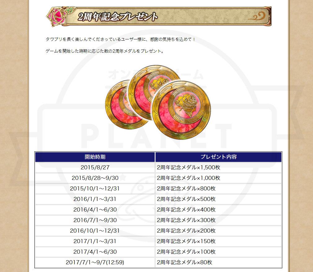 タワー オブ プリンセス(タワプリ) PC 2周年記念イベントメダルプレゼント