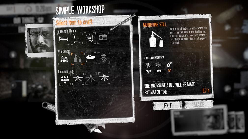 This War of Mine(ディスウォーオブマイン)TWoM PC アイテム製作画面