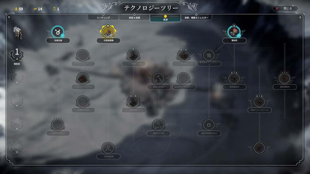 Frostpunk(フロストパンク) テクノロジーツリースクリーンショット