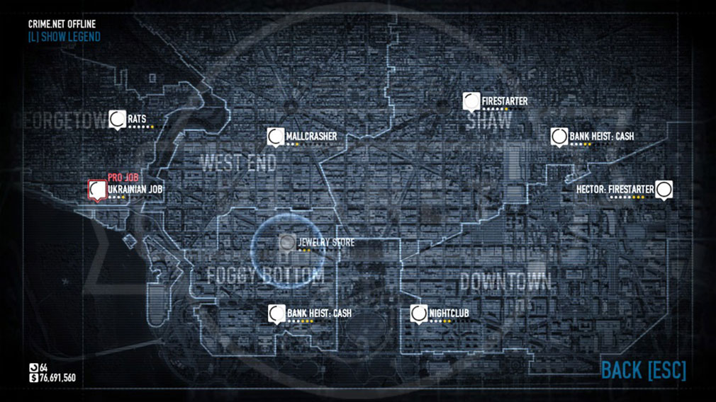 PAYDAY 2 (ペイデイ2) PC ジョブ(ミッション)選択画面