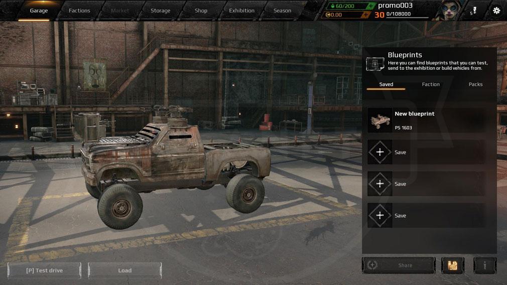 CROSSOUT(クロスアウト) PC ガレージ画面新規車両作成スクリーンショット