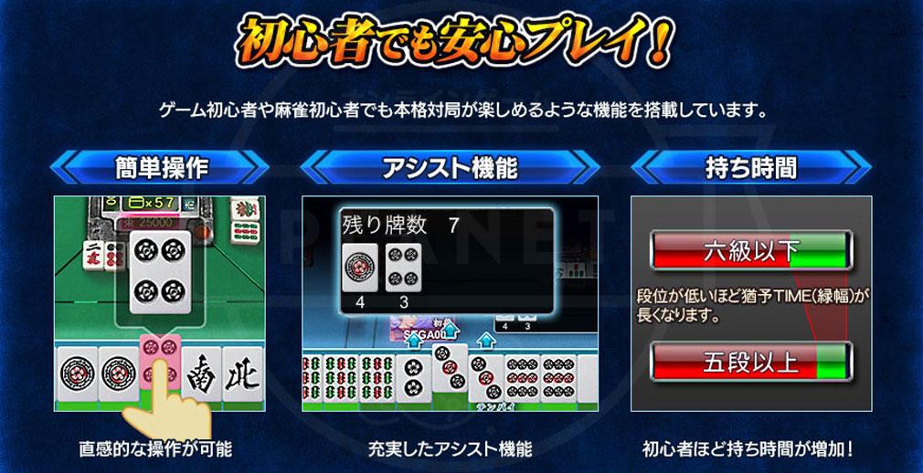 セガNET麻雀 MJ 初心者でも安心してプレイできるシステム紹介イメージ