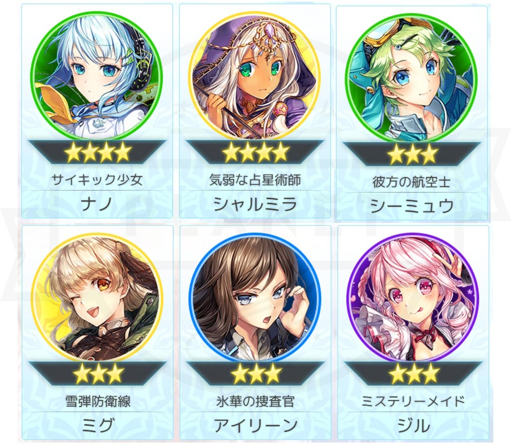 UNITIA(ユニティア) 神託の使徒×終焉の女神 PC ★4、★3キャラクター