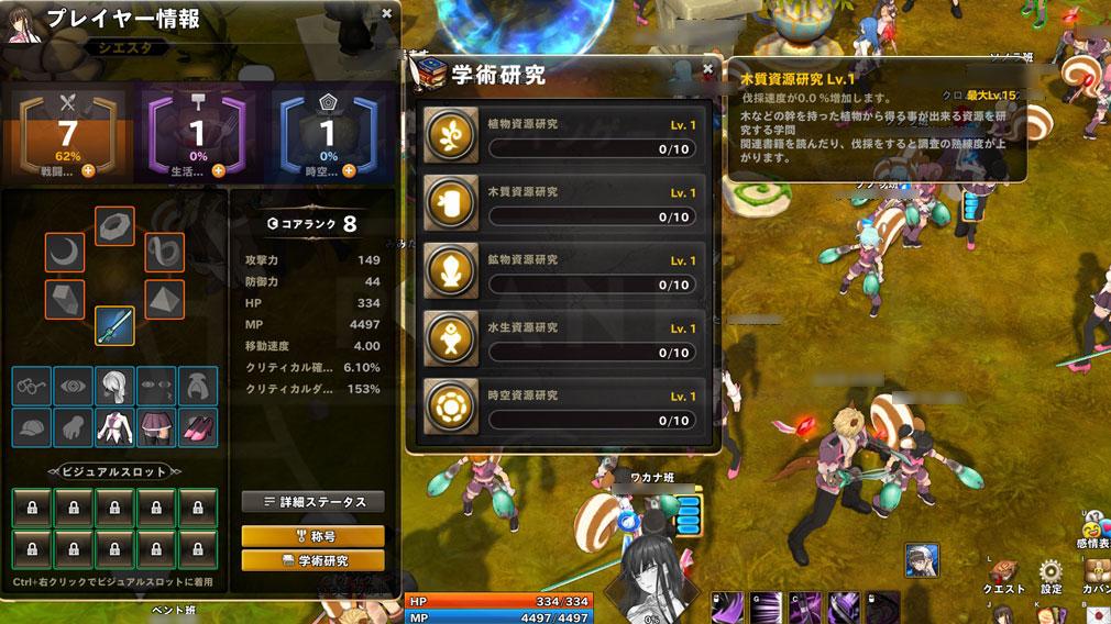 ArpieL(アルピエル) キャラクター情報の生活ポイント確認スクリーンショット