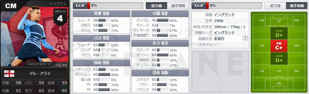 FOOTBALL DAY(フットボールデイ) PC キャラクター『デレ・アライ』ステータス値スクリーンショット