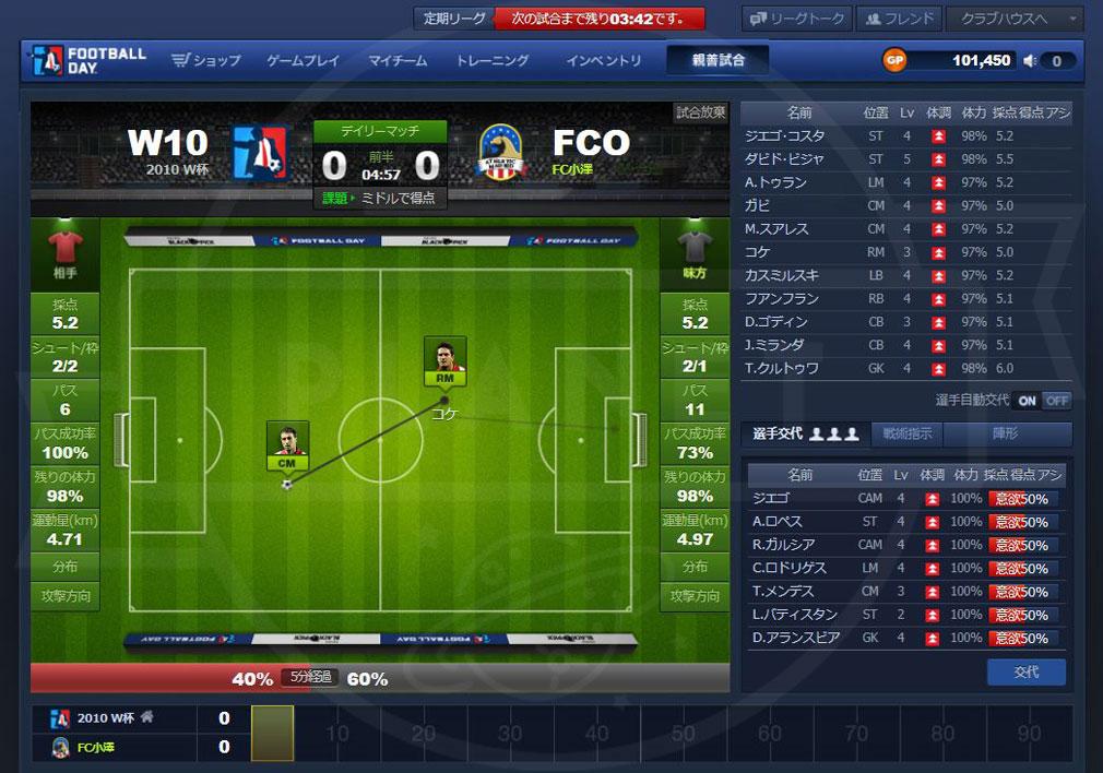 FOOTBALL DAY(フットボールデイ) PC 試合画面スクリーンショット