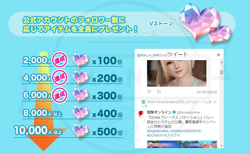 DEAD OR ALIVE Xtreme Venus Vacation (DOAX ブイブイ) PC 公式Twitterフォローキャンペーン