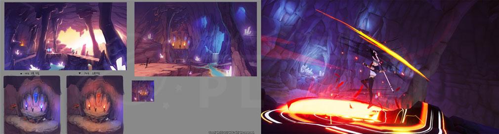 KurtzPel (カーツペル) 新PvPマップ『カリアン洞窟』原画、ゲーム内実装スクリーンショット