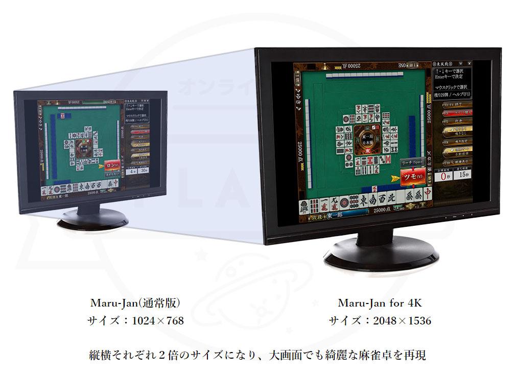 オンライン麻雀 Maru-Jan 面積比なんと4倍のイメージ