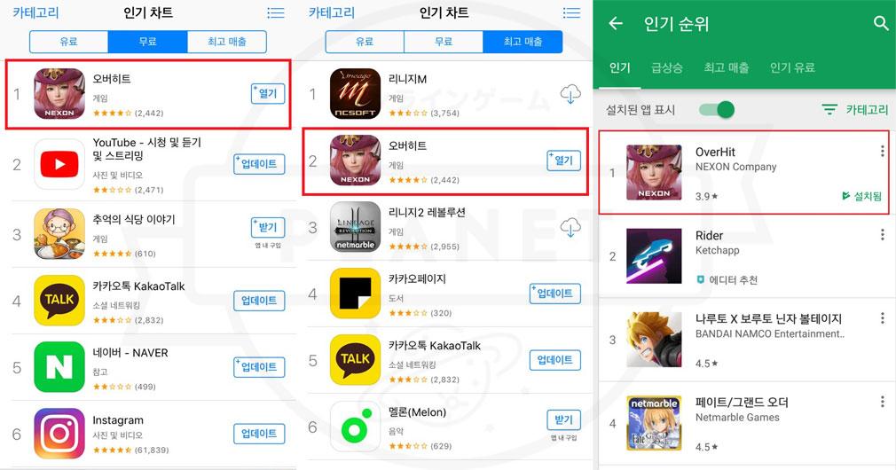 OVERHIT(オーバーヒット) App Store/Google Play Storeの2大マーケットで1位獲得スクリーンショット
