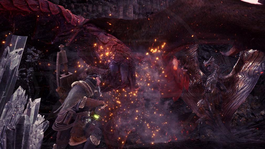 MONSTER HUNTER: WORLD(モンハンワールド)MHW PC 『炎王龍 テオ・テスカトル』と『鋼龍 クシャルダオラ』が縄張り争い