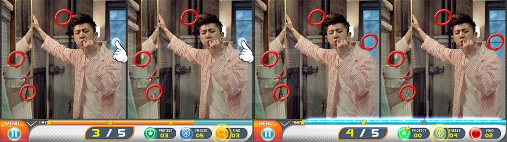 iKON COLLECTION HIDDEN CATCH PC 間違いを1つ見つけてくれる【赤:Find】、時間を10秒止めてくれる【青:Freeze】発動スクリーンショット