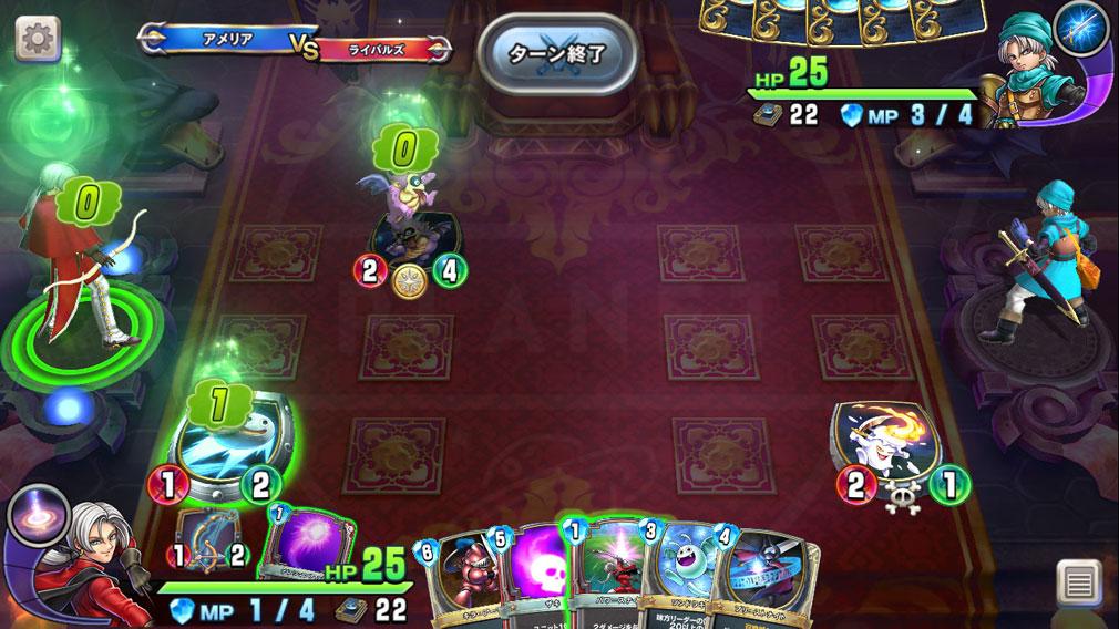 ドラゴンクエストライバルズ PC 様々な効果が発動されているバトルスクリーンショット