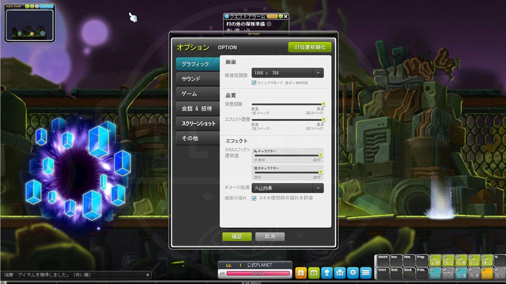 メイプルストーリー(MAPLE STORY) 環境設定画面スクリーンショット