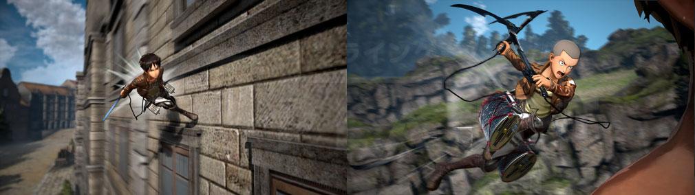 """進撃の巨人2 PC """"立体機動装置""""の移動、攻撃アクションスクリーンショット"""