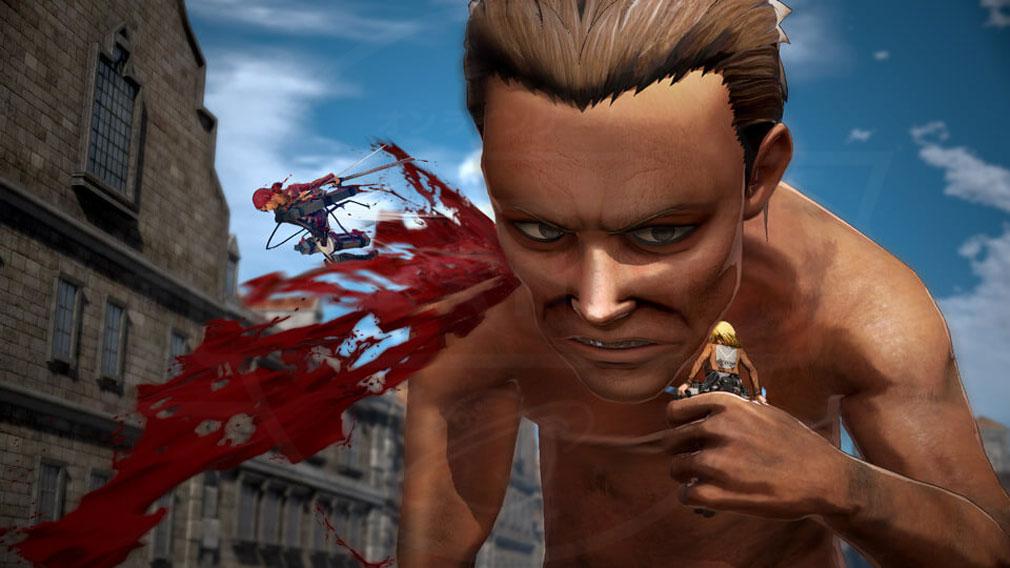 進撃の巨人2 PC 巨人に向かって高ダメージの突撃攻撃を行う『バディアクション』スクリーンショット