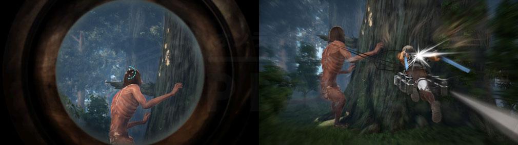 進撃の巨人2 PC スクリーンショット 単眼鏡で照準を合わせ、巨人へ向かって高速突進する『奇襲攻撃』スクリーンショット