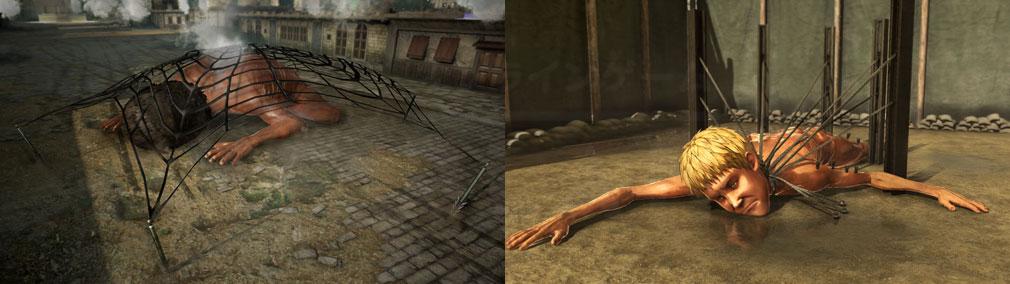 進撃の巨人2 PC 『捕獲銃』で巨人捕獲、『巨人研究所』に収容された巨人スクリーンショット