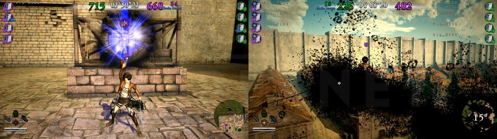 進撃の巨人2 PC 拠点設営でポイント獲得、ペイント弾で画面に付着して見づらくなってしまう『殲滅モード』バトルスクリーンショット