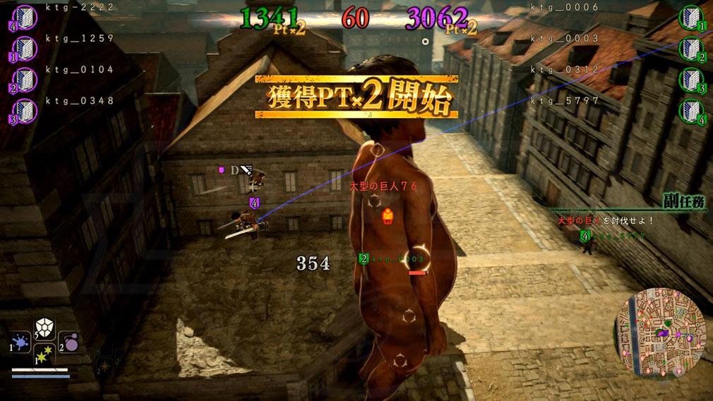 進撃の巨人2 PC 巨人撃破時の獲得ポイントが2倍になる『チャンスタイム』突入スクリーンショット