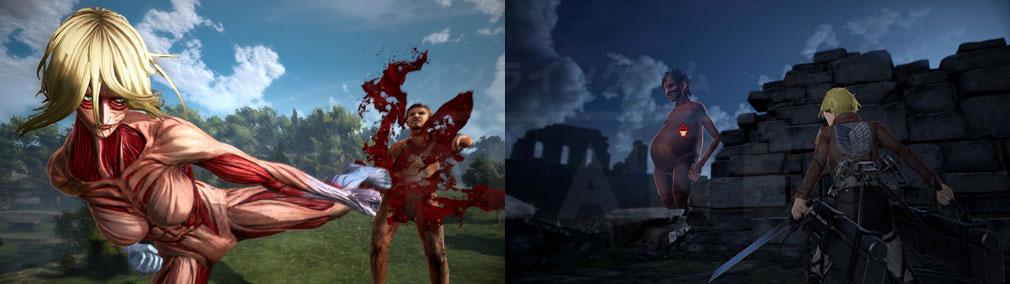進撃の巨人2 PC 女型巨人、『巨人の警戒度』が表示中のバトルスクリーンショット