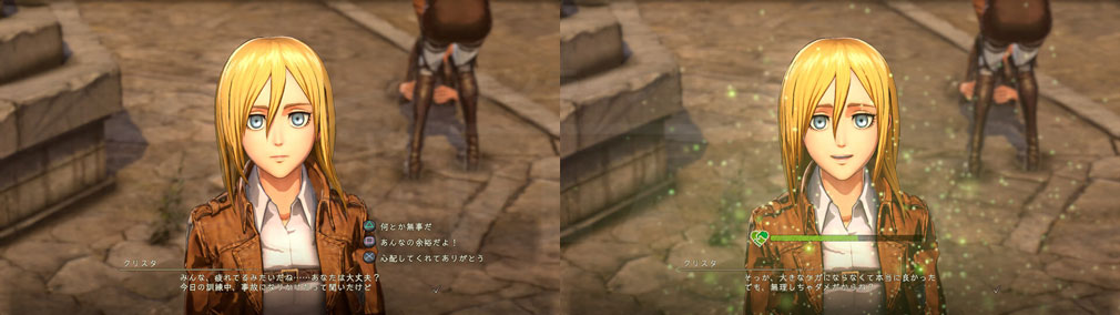 進撃の巨人2 PC アドベンチャーのように選択肢を選び、選択結果によっては『友好度』が上昇するスクリーンショット