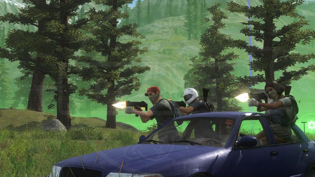 H1Z1 1人が運転、3人が銃撃している車両バトルスクリーンショット