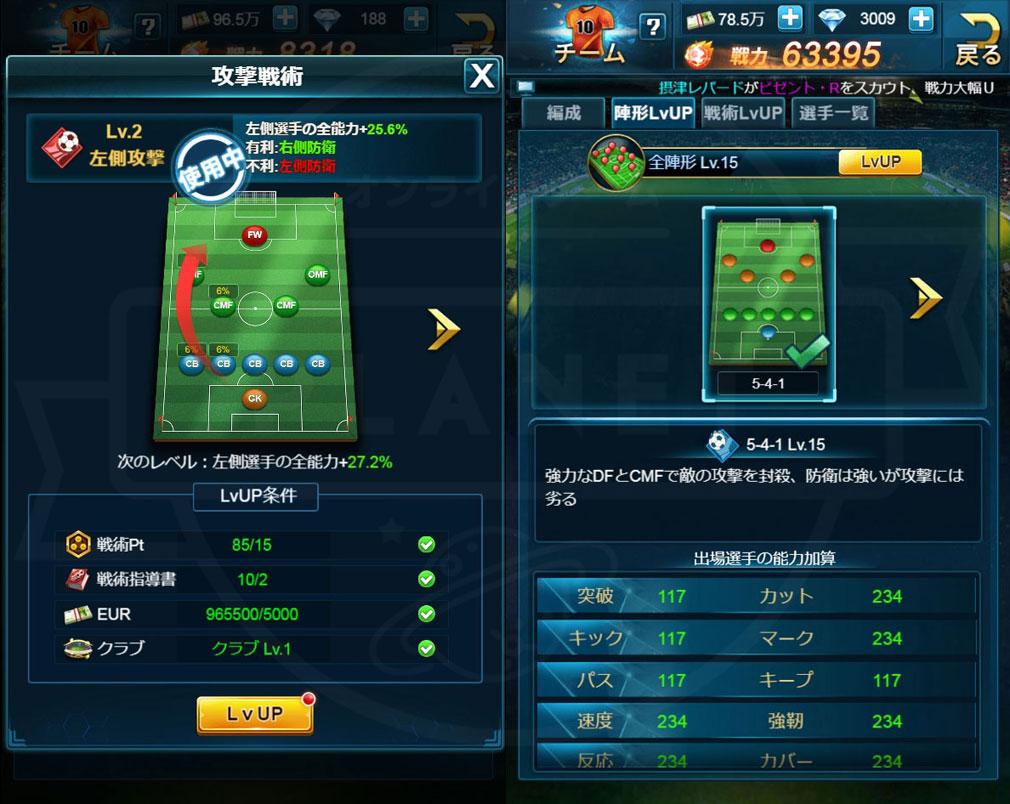 グローリーサッカー 『陣形』、フォーメーションスクリーンショット