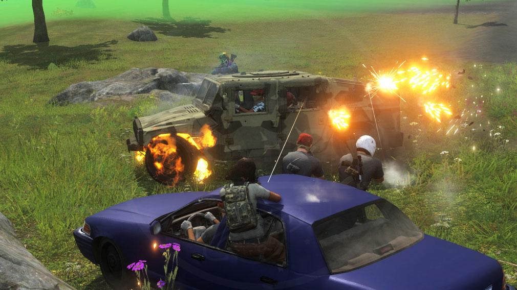 H1Z1 車両を盾にして戦うスクリーンショット