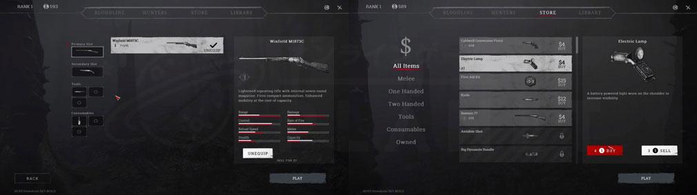 Hunt Showdown(ハントショーダウン) 武器や装備アイテム選択スクリーンショット