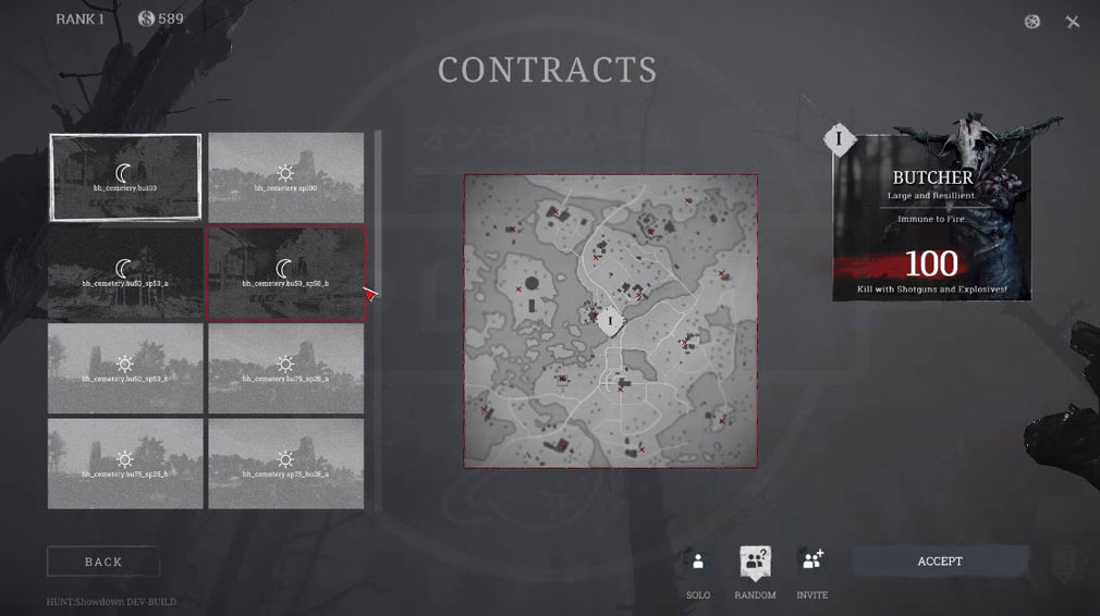 Hunt Showdown(ハントショーダウン) ミッションやクエスト選択スクリーンショット