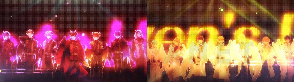 """魔王さまをプロデュース!七つの大罪 for GIRLS (まおプロ) PC """"Nacht(ナハト)""""と""""CHEVALIER(シュヴェリエ)""""のライブイメージ"""