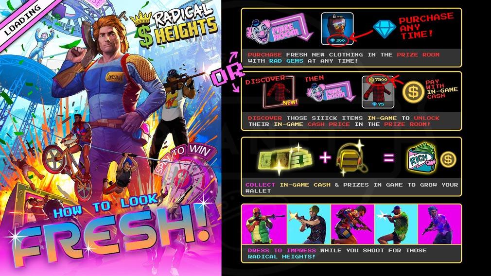 Radical Heights(ラディカル ハイツ) 様々なアイテムが揃う有料ダウンロードコンテンツ(DLC)イメージ
