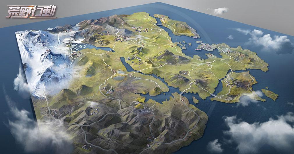 荒野行動 Knives Out (ナイフアウト) PC 新MAPの俯瞰イメージ
