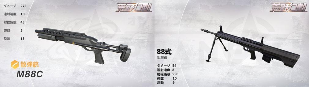 荒野行動 Knives Out (ナイフアウト) PC 散弾銃M88C、狙撃銃88式イメージ