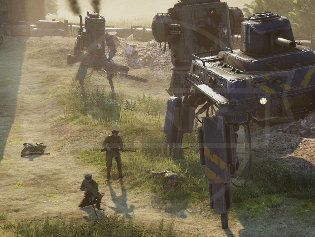 Iron Harvest PC 二足歩行ロボから、クモ型ロボット、巨大メカなどの様々な兵器のバトルスクリーンショット