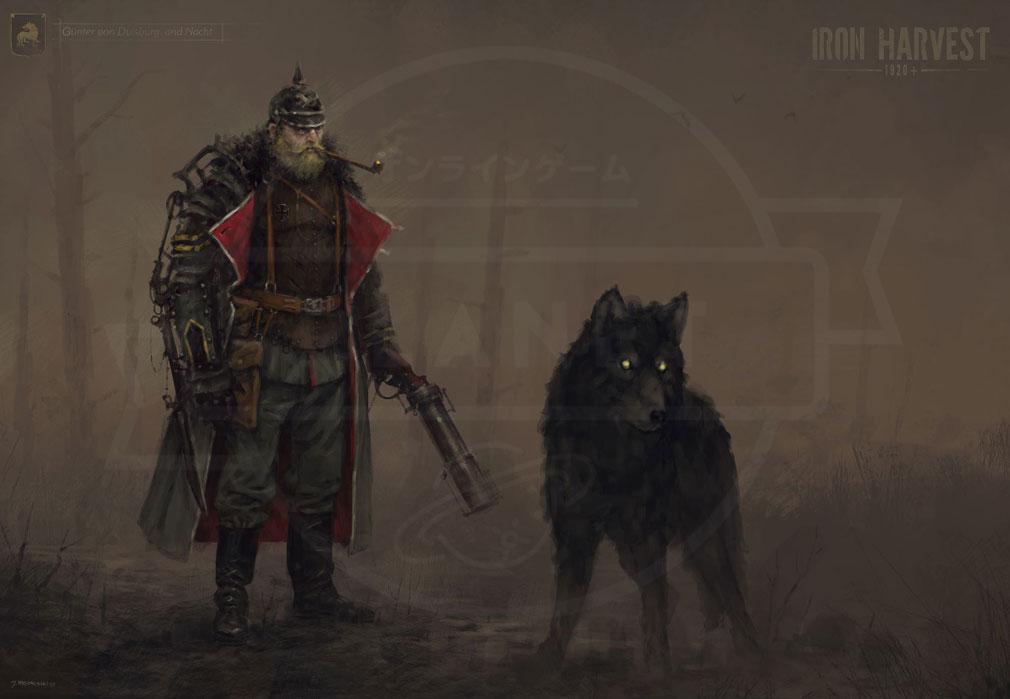 Iron Harvest PC サクソニー帝国ガンターとペットの大型狼タークのイメージ