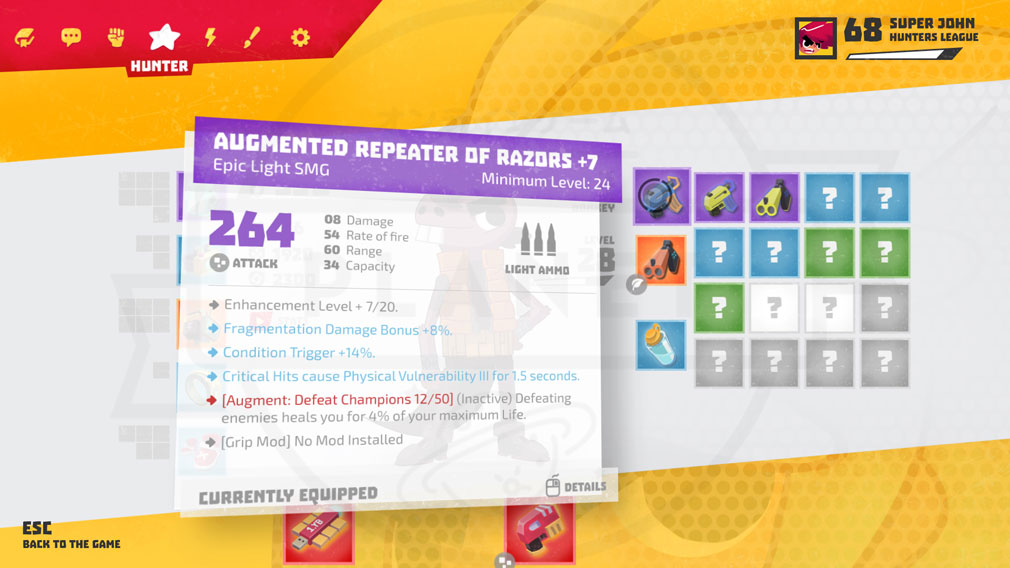Relic Hunters Legend (レリック ハンター レジェンド) PC カスタマイズ画面スクリーンショット