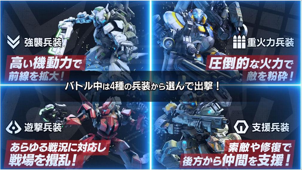 ボーダーブレイクPS4版 4種の『強襲兵装』、『重火力兵装』、『遊撃兵装』、『支援兵装』紹介イメージ