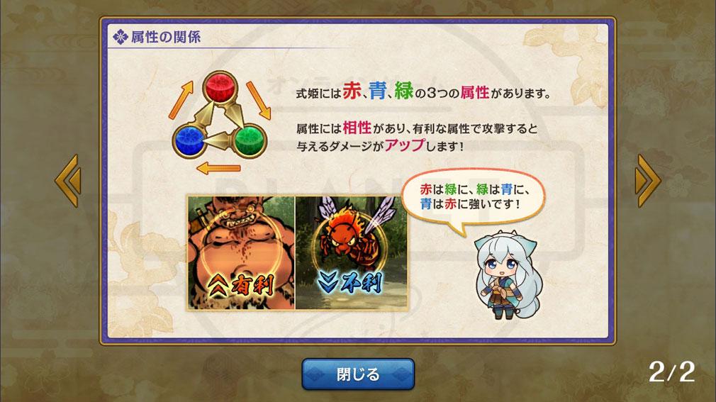 式姫転遊記 『赤/青/緑』の3すくみの属性紹介スクリーンショット