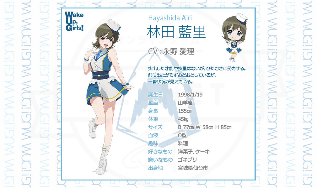 Wake Up Girls!新星の天使(WUG天) PC キャラクターイメージ林田 藍里(CV:永野 愛理)