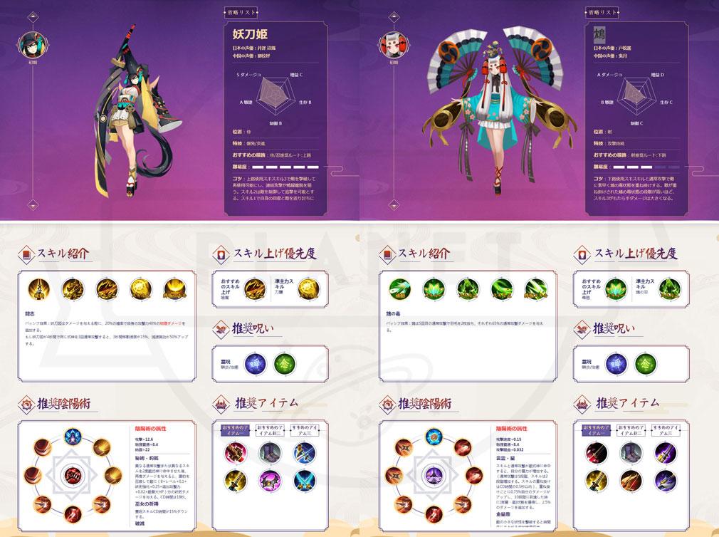 決戦!平安京 PC 忍タイプ、射タイプの式神キャラクターイメージ